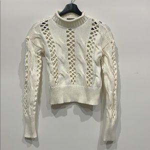 EXPRESS Cropped Cream/White Cable Sweater Size XS